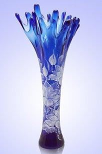 Ваза синяя Коралл h380 мм. рис. № 2 Бел.