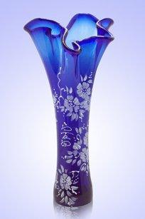 Ваза синяя Волна h280 мм. рис. № 17 Бел.