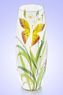 Ваза прозрачная Бочка h260 мм. рис. Бабочки Ж.К.З.