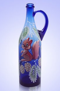 Бутыль синяя Литр руч. 1л. d90.h320 мм. рис. Белочка