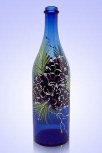 Бутыль синяя Литр 1л. d90.h320 мм. рис. Кедр