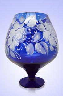 Ваза синяя Бокал 1,8л d155h200 мм рис. № 11 Бел.