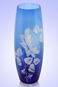 Ваза синяя Бочка h260 мм. рис. № 16 Бел.