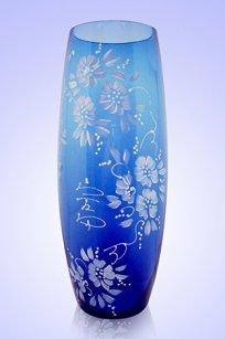 Ваза синяя Бочка h260 мм. рис. № 17 Бел.