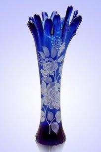 Ваза синяя Коралл h280 мм. рис. № 3 Бел.