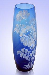 Ваза синяя Бочка h260 мм. рис. № 8 Бел.