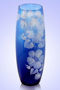 Ваза синяя Бочка h260 мм. рис. № 9 Бел.