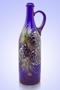 Бутыль синяя Литр руч. 1л. d90.h320 мм. рис. Кедр