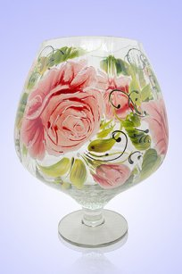 Ваза прозрачная Бокал 1,8л. риф. d155.h200 мм. рис. Роза З.Р.