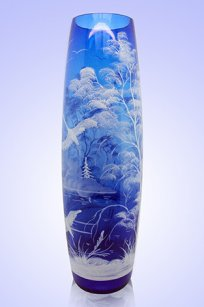 Ваза синяя Бочка h400 мм. рис. № 5 Бел.