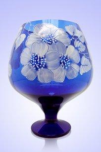 Ваза синяя Бокал 1,8л d155h200 мм рис. № 9 Бел.