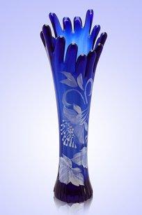 Ваза синяя Коралл h280 мм. рис. № 1 Бел.