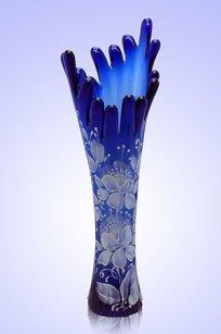 Ваза синяя Коралл h280 мм. рис. № 11 Бел.