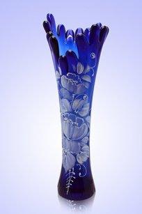 Ваза синяя Коралл h280 мм. рис. № 15 Бел.