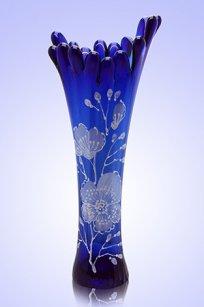 Ваза синяя Коралл h280 мм. рис. № 19 Бел.