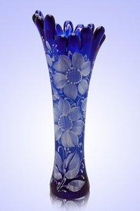 Ваза синяя Коралл h280 мм. рис. № 6 Бел.