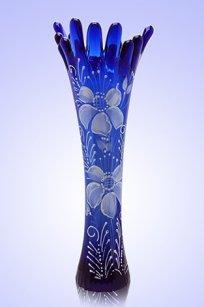 Ваза синяя Коралл h280 мм. рис. № 7 Бел.