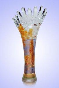 Ваза прозрачная Коралл h280 мм. рис. Осень