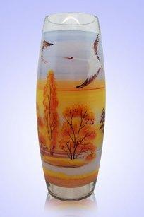 Ваза прозрачная Бочка h300 мм. рис. Осень