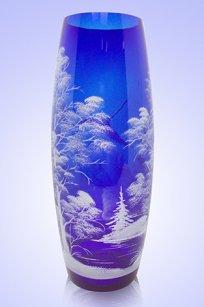Ваза синяя Бочка h300 мм. рис. № 5 Бел.