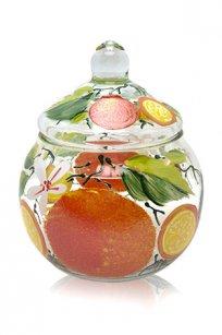 сувенир ручная роспись прозрачный Ларчик Шар d100.h110 мм. рис. Апельсин