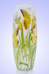 Ваза прозрачная Бочка h300 мм. рис. Бабочки Ж.К.З.