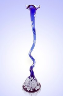Ваза синяя С-82 h510 мм. рис. № 19 (Бел.)