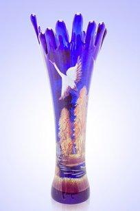 Ваза синяя Коралл h280 мм. рис. Осень