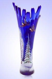 Ваза синяя Коралл h280 мм. рис. Зима