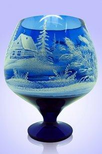 Ваза синяя Бокал 1,8л d155h200 мм рис. № 5 (Бел.)