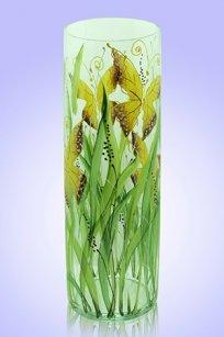 Ваза прозрачная Цилиндр d100.h300 мм. рис. Бабочки (Ж.К.З.)