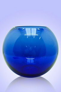 Ваза синяя Шар d180.h160 мм