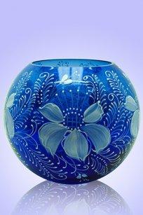 Ваза синяя Шар d180.h160 мм. рис. № 7 (Бел.)