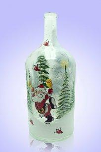 Бутыль прозрачная 2л. d120.h300 мм. рис. Дед Мороз № 3