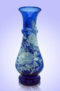 Ваза синяя С-87 дробь 2 h250 мм. рис. Роза (Бел.)
