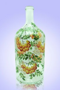 Бутыль прозрачная 2л. d120.h300 мм. рис. Рябина