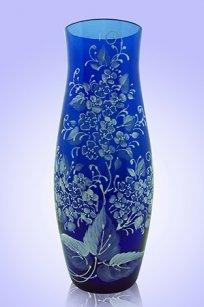 Ваза синяя С-64 h260 мм. рис. Роза (Бел.)