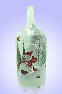 Бутыль прозрачная 2л. d120.h300 мм. рис. Снеговик № 4