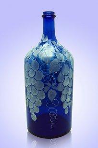 Бутыль синяя 2л. d120.h300 мм. рис. Виноград (Бел.)
