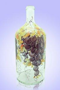 Бутыль прозрачная 2л. d120.h300 мм. рис. Виноград (Фиол.)