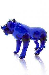 сувенир стеклокрошка Тигр h120 мм Синее Стекло