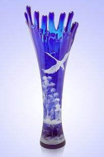 Ваза синяя Коралл h380 мм. рис. № 5 Бел.